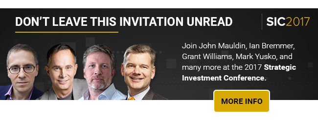 Join John Mauldin, Ian Bremmer, Grant Williams, Mark Yusko, and many more at the 2017 Strategic Investment Conference.